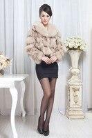 Elegant для женщин натуральная Lisa мех пальто леди зима теплая мех куртка Lisa новинка 2017 года естественно лисьим мех верхняя одежда лидер продаж