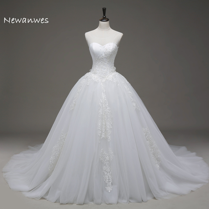 Aliexpress Buy Sheer Scoop Neck Beading Vintage Lace Big Puffy Ball Gown Wedding Dress