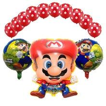 13pcs 60*45cm Super Mario Balloons Set Birthday Party 18 Inch Bros Helium Globos 12inch Red Blue latex Decoration Supplies
