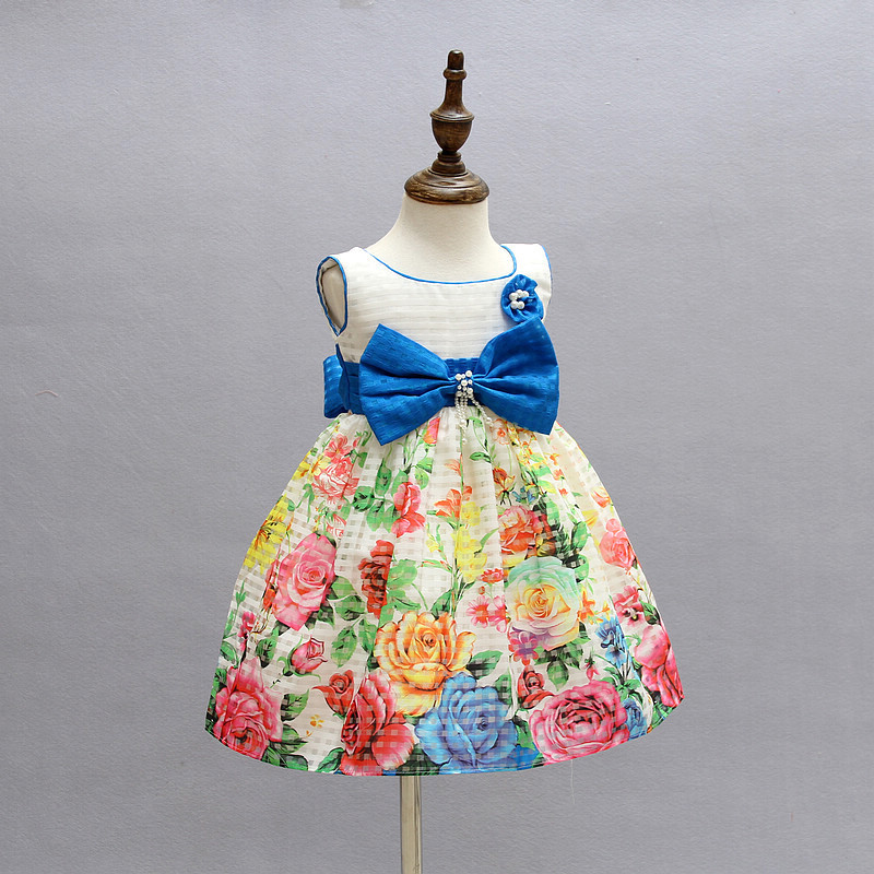 Amazing Flower Print Girl Dress Silk Bow with Pearl Formal Baby Girls Dress for Party Birthday New Year Kids Dresses 2-7T amazing flower print girl dress silk bow with pearl formal baby girls dress for party birthday new year kids dresses 2 7t