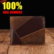 100%Real cowhide wallet men high quality splice Short Card package Unisex Genuine Leather Money Clips 2019 NEW
