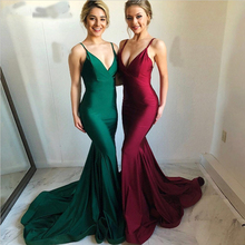 Elegant cheap discount custom made long burgundy mermaid V-neck slim satin prom dresses gowns 2019 with trian