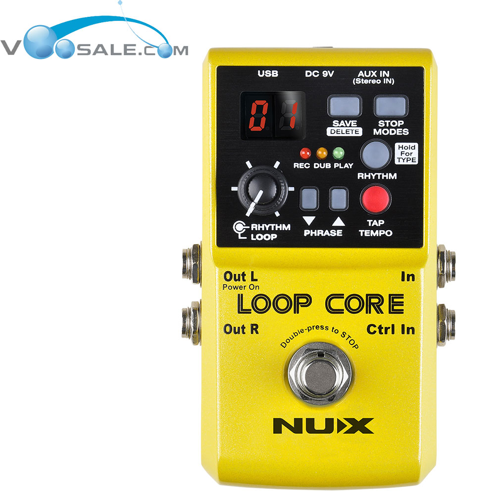 NUX Loop Core Guitar Electric Effects Pedal Looper 6 HourS Recording 99 User Storage Locations Built-in 40 Drum Yellow nux mg 20 electric guitar multi effects pedal guitarra modeling processor with drum machine eu plug