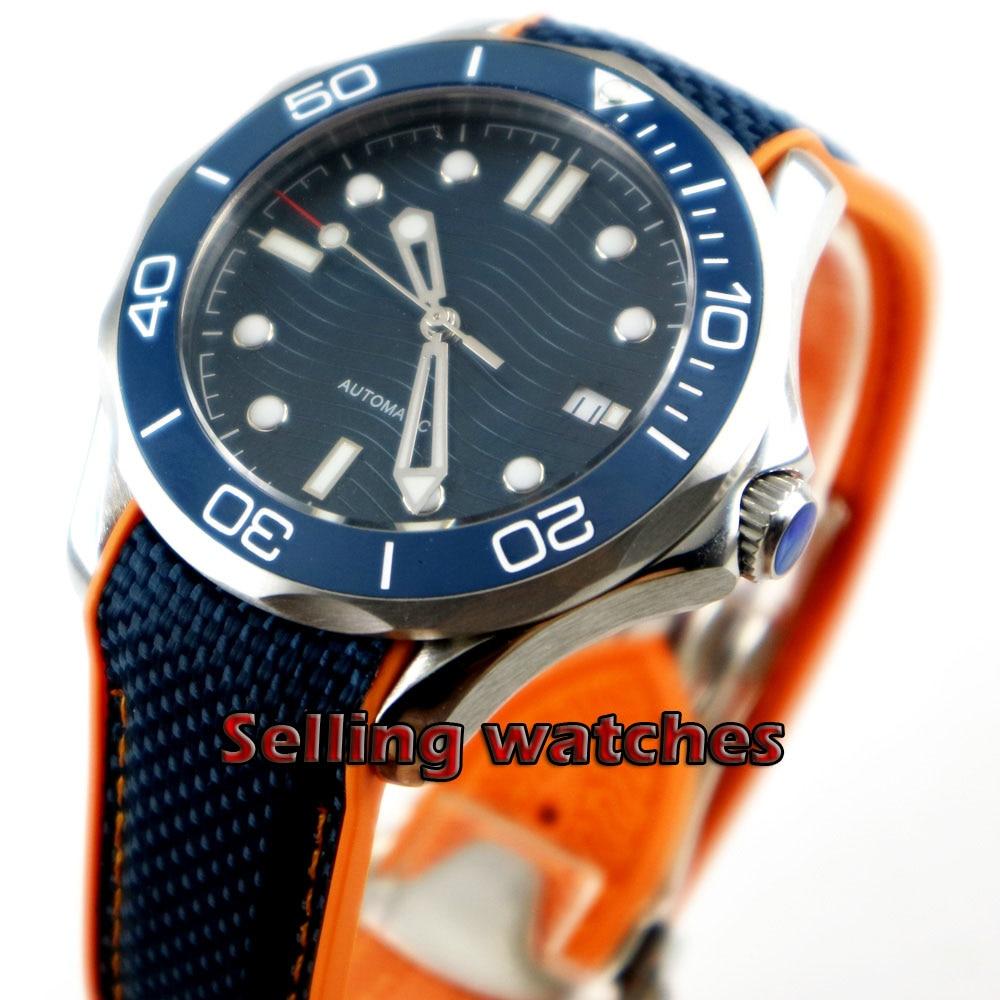 41mm no logo blue dial sapphire glass Ceramic bezel date Mechanical automatic mens watch|Mechanical Watches| |  - title=