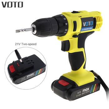 VOTO AC 100 - 240V Cordless 21V Electric Screwdriver / Drill with Lithium Battery and Two-speed Adjustment Button Accessories voto ac 100 240v cordless 12v electric drill screwdriver with adjustment switch and two speed adjustment button for punching