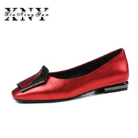 XIUNINGYAN Sexy Women Pumps Slip on Low Heels Spring Autumn Square Toe Heels Shoes For Woman Ladies Big Size Shoes 43 Red
