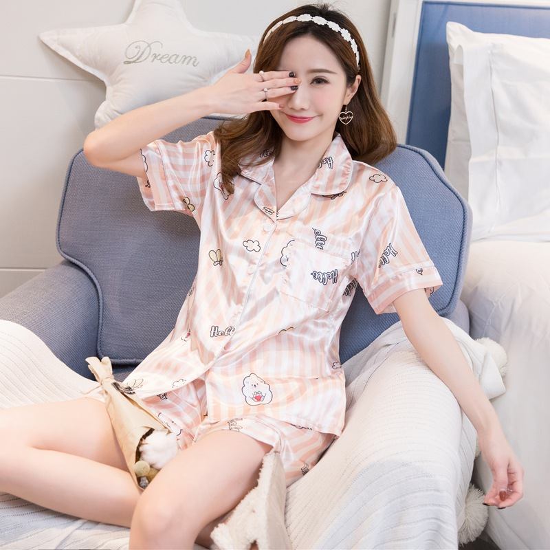 2019 Summer Short Sleeve Silk Satin Striped   Pajama     Sets   for Women Shorts Pyjama Print Sleepwear Loungewear Homewear Pijama Mujer