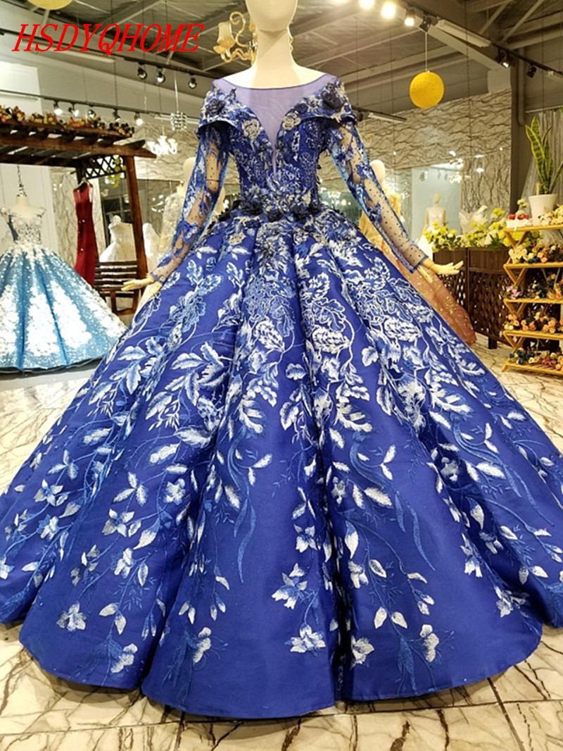 HSDYQHOME Amazing 3D Flowers   Evening     dresses   2018 Luxury Prom   Dresses   Ball gown Vestidos   Evening   party gown
