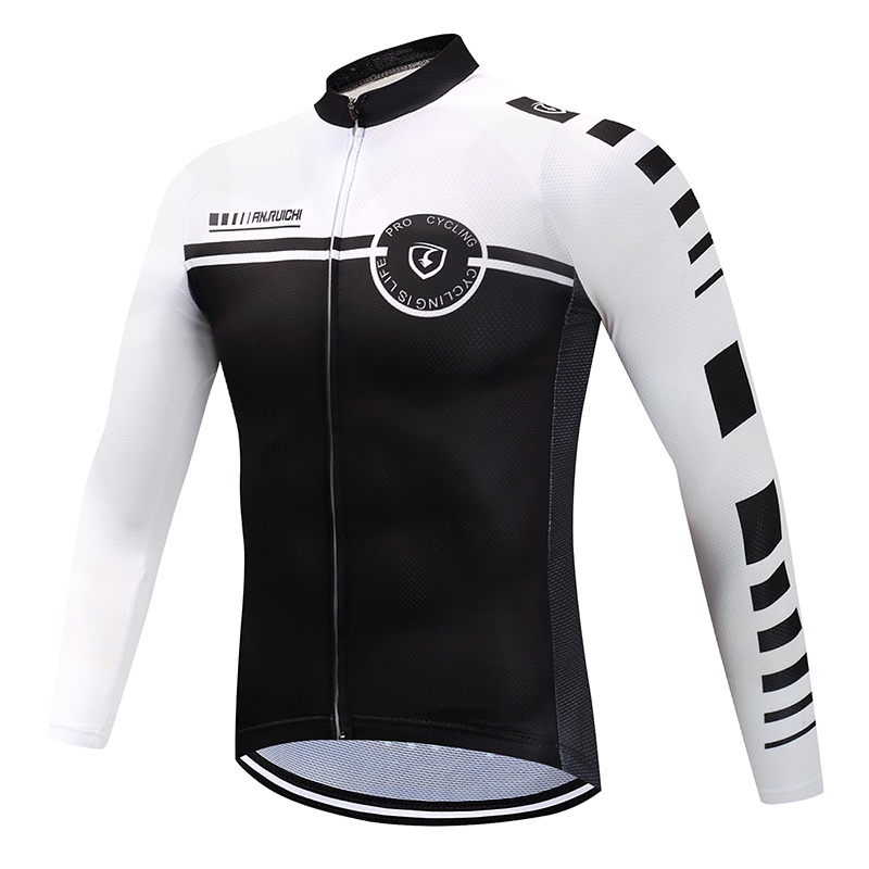 Men Full Sleeve Cycling <font><b>Jersey</b></font> White Matches Black Anti-sweat Quick Dry <font><b>Bike</b></font> Riding <font><b>Jerseys</b></font> <font><b>Customized</b></font>/Wholesale Service image