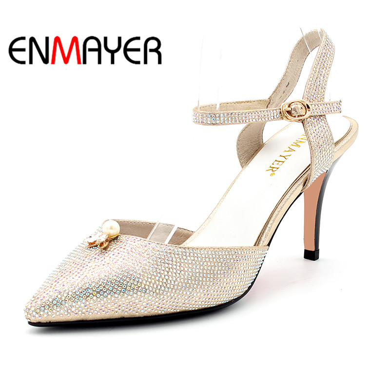 ENMAYER Women Summer Party Sandals Pumps Shoes Ankle Strap Pointed Toe Buckle Strap Thin Heels Large Size 34-40 Golden Silver  цены онлайн