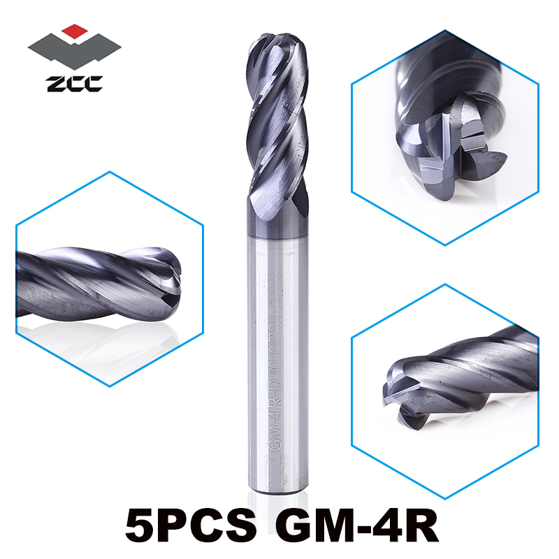 5pcs/lot GM-4R Solid Carbide 4 Flute R End Mills Corner Rounding Square Head With Radius End Mill  Cutters CNC Milling Tools