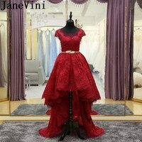JaneVini бордовые кружевные платья подружки невесты для девочек с коротким передом и длинной спиной, платья для свадебной вечеринки для женщин