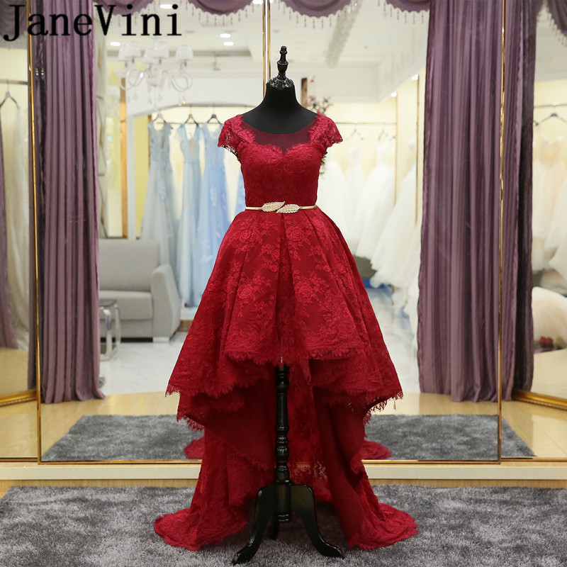 ... Burgundy Lace Bridesmaid Dresses Girl Short Front Long Back Wedding  Party Dresses For Women High Low Gold Sash Gowns on Aliexpress.com  7c9088593320