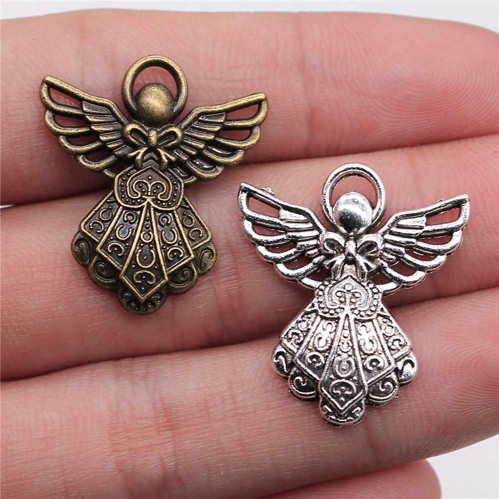 WYSIWYG 6 pcs 26x23mm עתיק כסף עתיק ברונזה מלאך תליון מלאך תליוני עבור תכשיטי ביצוע מלאך תליון קסמי