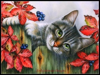 Needlework for embroidery DIY DMC High Quality - Counted Cross Stitch Kits 14 ct Oil painting - Autumn Cat