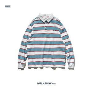 Image 5 - אינפלציה 2020 גברים פסים ארוך שרוול חולצת טי גברים רחוב ללבוש חולצה O צוואר מזדמן רופף סגנון חולצה סתיו למעלה Tees 91502W