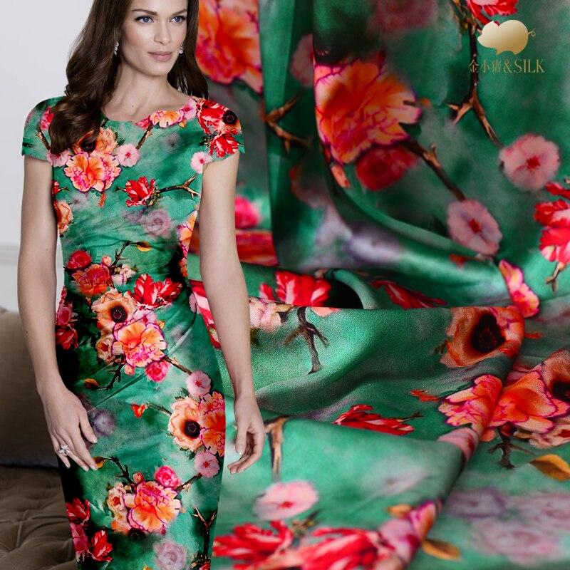 2018 nouveau modèle de fleur en soie tissu numérique jet d'encre soie satin stretch tissu soft soie chinoise tissu en gros tissu de soie