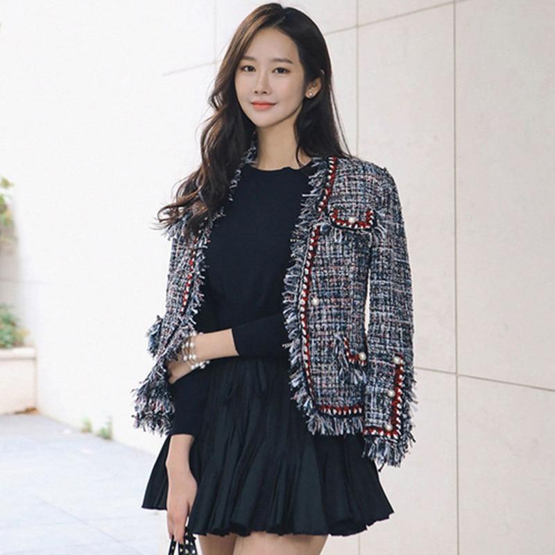 new High Quality Tweed Jacket Ladies 2018 Runway Coat Spring Autumn Women Tweed Jackets Coats