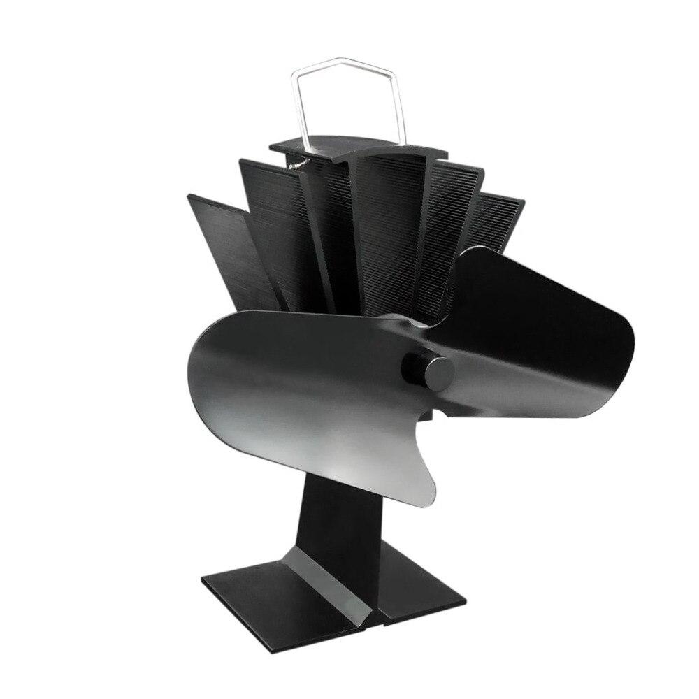 Durable 2 Lame di Alluminio di Calore Nero Powered Fornello Fuochi Fan Fan Risparmio di Carburante In Legno Eco-FriendlyDurable 2 Lame di Alluminio di Calore Nero Powered Fornello Fuochi Fan Fan Risparmio di Carburante In Legno Eco-Friendly