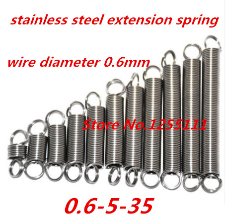 50pcs/lot 0.6mm x 5mm x 35mm Stainless steel helical spring, 0.6mm high extension spring,long extension spring with hooks50pcs/lot 0.6mm x 5mm x 35mm Stainless steel helical spring, 0.6mm high extension spring,long extension spring with hooks