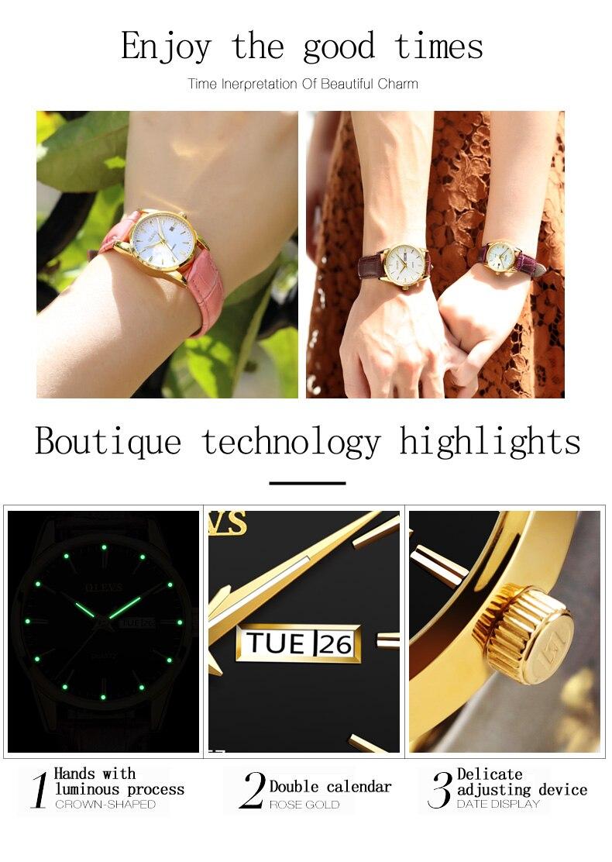 ad9def614b3 Características Número modelo  OLEVS 6898Relógio de vidro  cristal Hardlex  vidro com película de revestimentoPulseiras de relógio  cinto de CouroCaixa  do ...