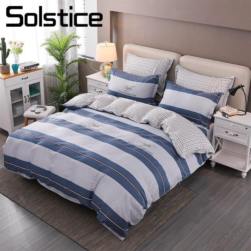 Solstice Home Textile Blue Stripe Lattice Bedding Sets 100% Cotton Kid Teen Boy Girl Linen Duvet Cover Pillowcase Bed Sheet 4Pcs