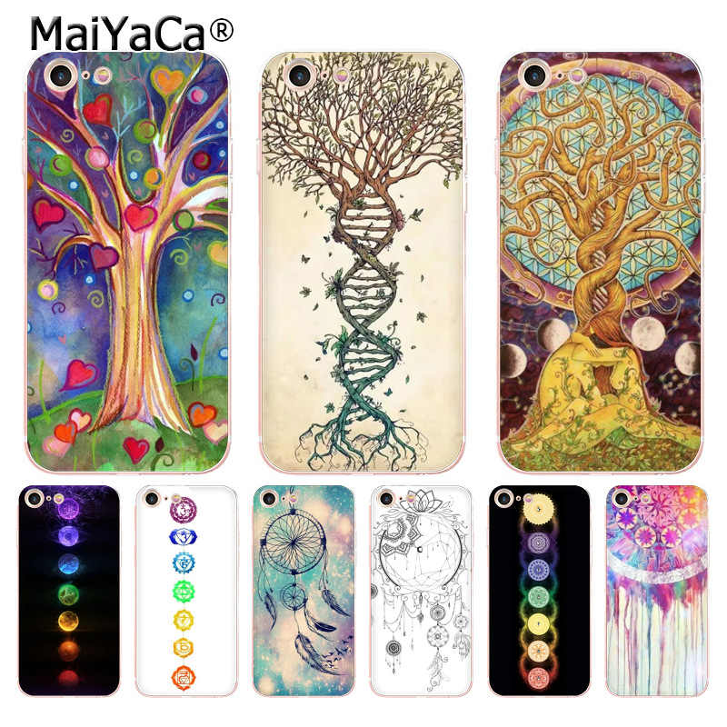 MaiYaCa dream catcher mandala chakra ยืนยัน yoga นุ่มสำหรับ iPhone 8 7 6S Plus X XS MAX 5S SE XR กรณี Coque
