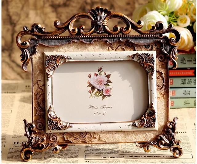 Retro Style Craving Rose Resin Photo Frame Picture Wedding Gift Fashion Royal