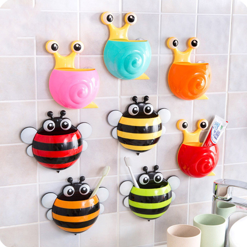 Cute Bee Snails Wall Mounted Toothbrush Holder Suction Cup Cartoon Animal Toothbrush Storage Rack Bathroom Set