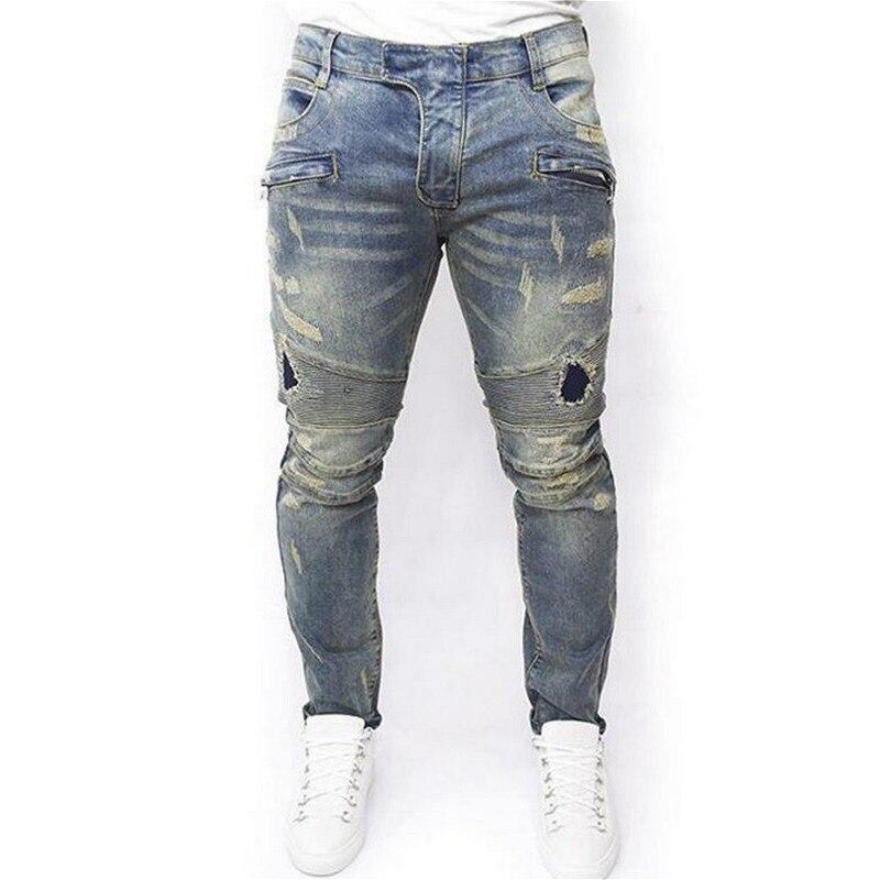 Men's Distressed Vintage Skinny Jeans Men Popular Crumpled Slim Jeans with Tiny Elastic Jeans Washed Blue Splice Men's Pants