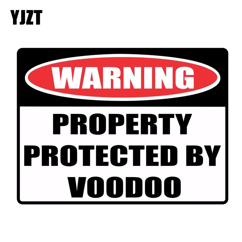 YJZT 19.2CM*14.3CM Personality WARNING PROPERTY PROTECTED BY VOODOO Creative Decal PVC Car Sticker 12-0142