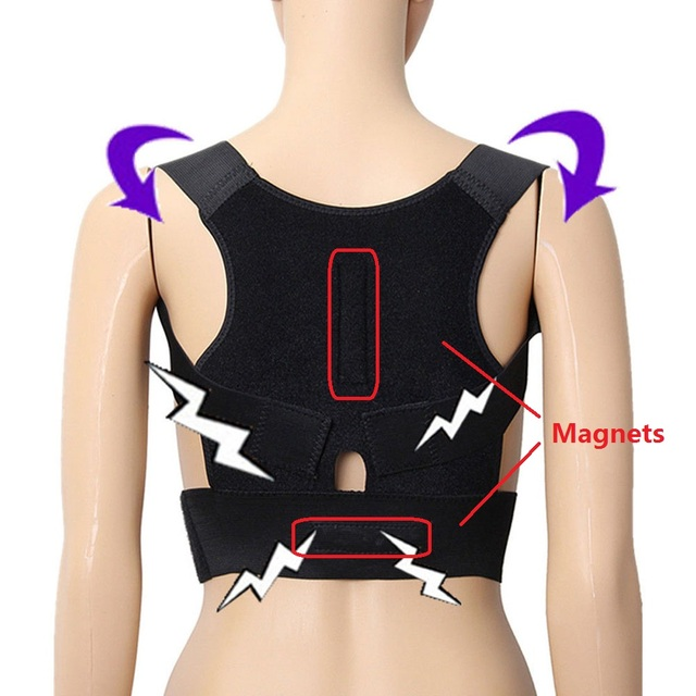 Регулируемая Корректор осанки подтяжки Поддержка s пояс назад Поддержка корсет назад поясничной плеча Корректор с магнитом камень