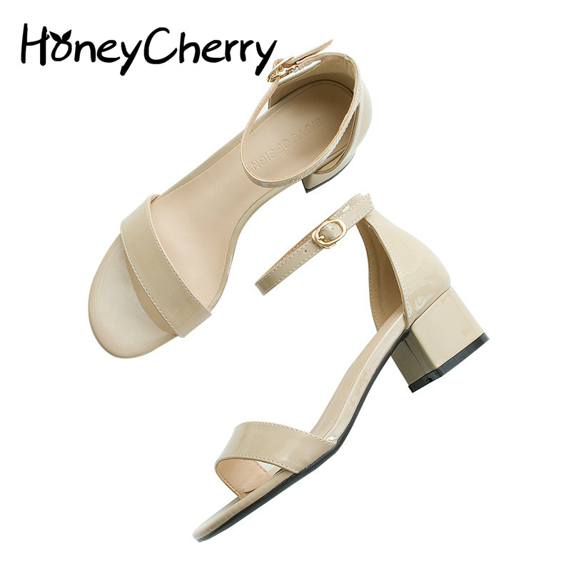 Female Sandals 2018 Summer New Korean Patent Leather Shoes Rough With The Word Cingulate Sandals, Sandals Women