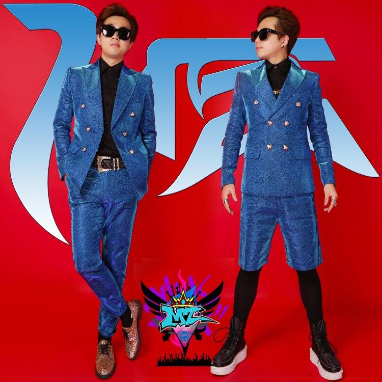 S-4XL 2019 été nouveaux hommes personnalité costume mâle chanteur DJ hip hop rock bleu paillettes costume grande taille chanteur costumes