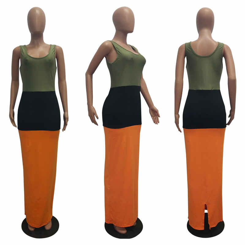 Echoine Bodycon Dress Women O Neck 3 Color Patchwork Sexy Spaghetti Straps Sleeveless Long Maxi Split Party Fancy Female Vestido in Dresses from Women 39 s Clothing
