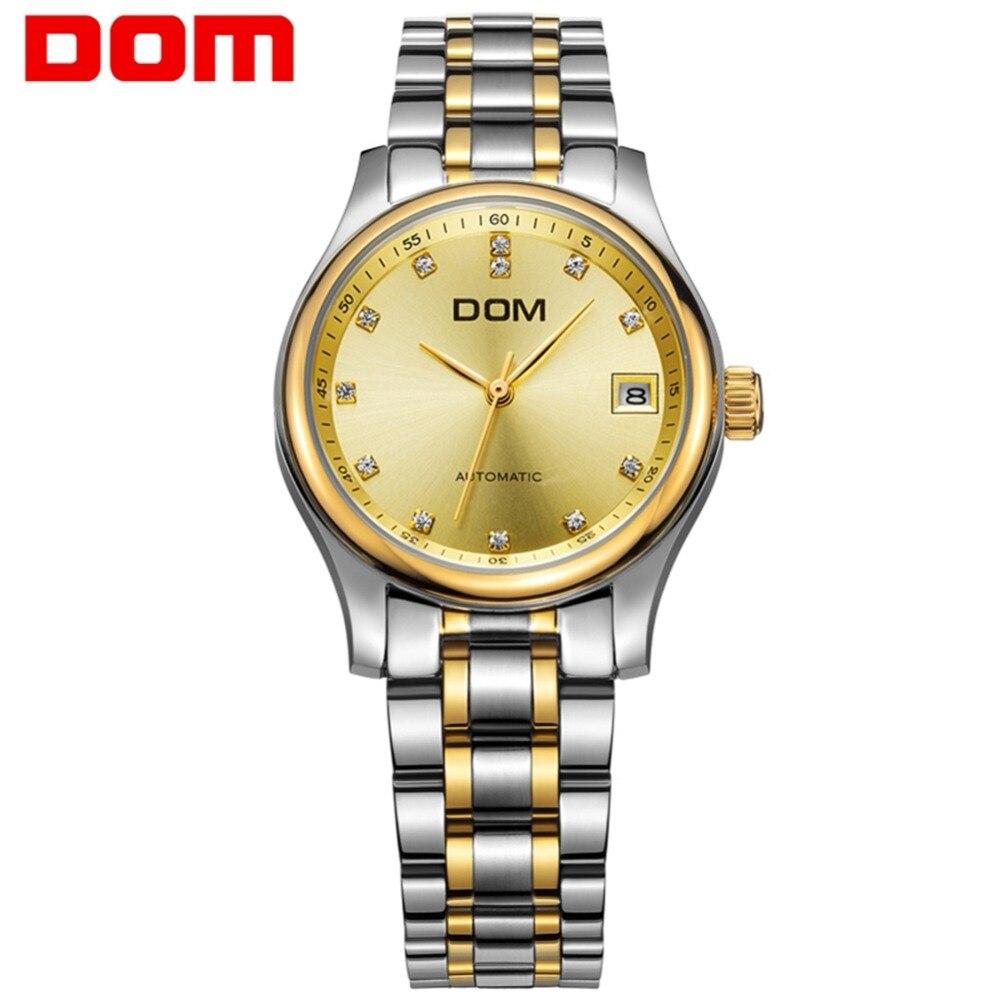 men watches DOM mechanical stainless steel Brand top luxury waterproof man watch crystal reloj hombre M-95G-9M pechoin 95g