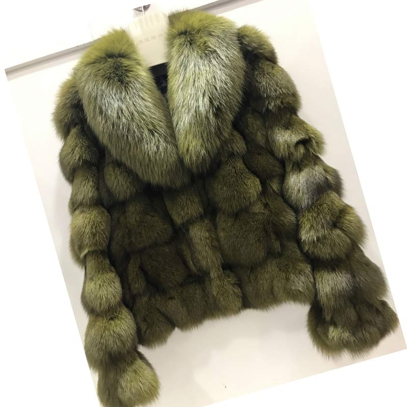 ETHEL ANDERSON Luxury Genuine Real Fox Fur Jackets&Coats With Fox Fur Collar For Ladies Short Fox Fur Outerwear In Fur Garments(China)