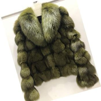 ETHEL ANDERSON Luxury Genuine Real Fox Fur Jackets&Coats With Fox Fur Collar For Ladies Short Fox Fur Outerwear In Fur Garments