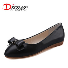 Wholesale price bowtie shoes 2016 Flat fake PU ladies ballet shoes casual mother shoes  PU flats women high quality shallow