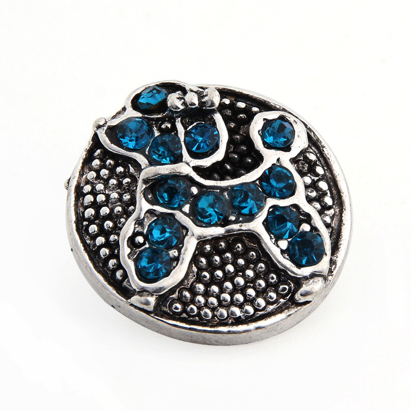 PAPAPRESS NEW 10pcs/lot Crystal Metal Snaps Jewelry Blue Pet Dog 18mm Buttons Fit Snap Leather Bracelet Jewelry Findings W418