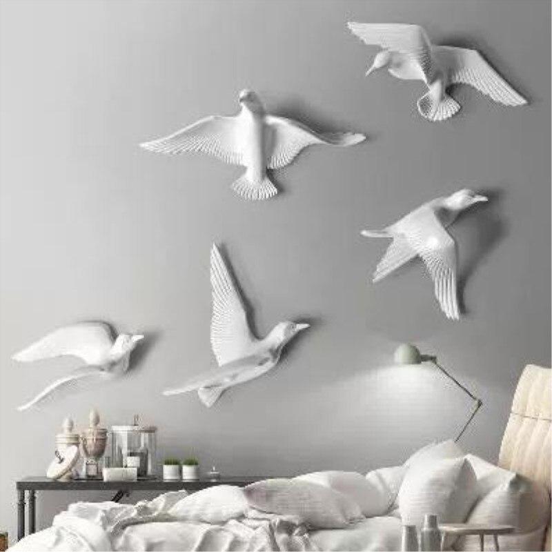 Artisanat de décoration murale d'oiseau en trois dimensions, mouette en résine créative et pétrel, mur de fond de mariage, beau cadeau