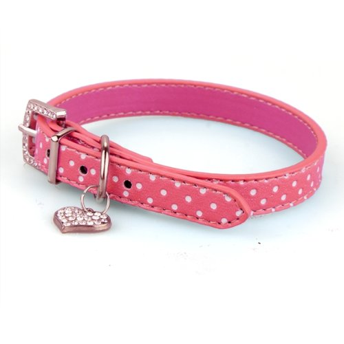 Hot Rhinestone PU Leather Adjustable collar for Dog Cat Pet Pink S