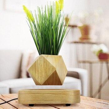 Pot de fleur en bois magnétique lévitation pot de fleurs à domicile décoration Fleur Pot ions Négatifs purifier l'air flottant pots avec plante artificielle