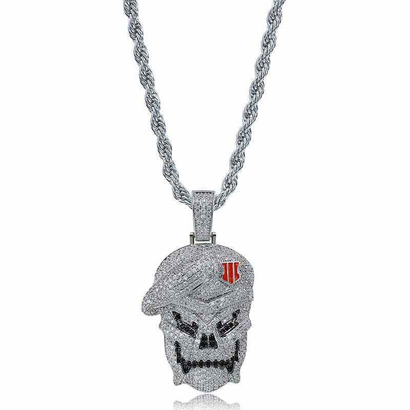 New Arrival Hot Sale HipHop Gold Silver AAA Call of Duty Black Skeleton Skull Pendant Necklacea