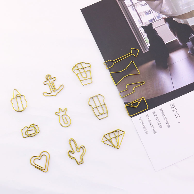 TUTU Gold Heart Shape Paper Clips Creative Interesting Bookmark Clip Memo Clip Shaped Paper Clips For Office School Home H0175
