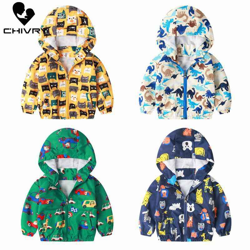 2019 Spring Autumn Children Coat Kids Jacket Boys Girls Outerwear Boy Fashion Cartoon Print Windbreaker Baby Clothes Clothing