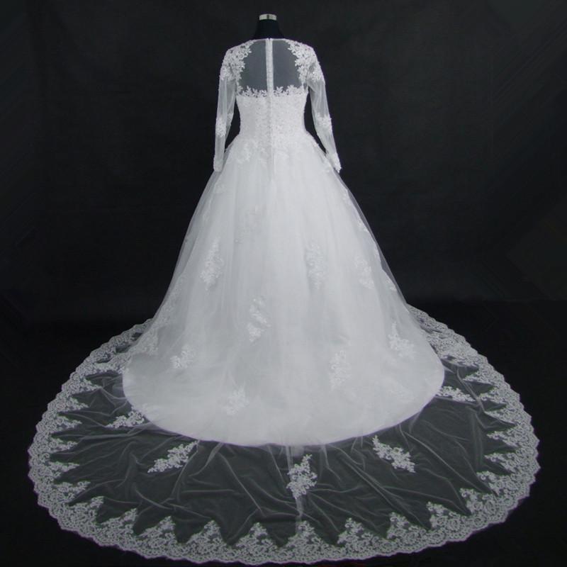 Wedding Dress Vintage Bohemian Lace Long Sleeve Ball Gown Wedding Dresses 2017 Luxury Pearls White Bridal Dress Vestido De Noiva 3