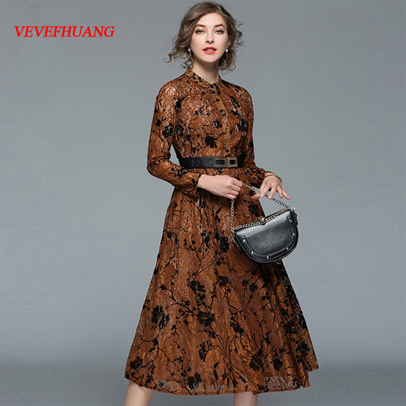 NEW Vintage Woman Brown Party Dress Spring Female A Line Dress Midi Ladies Hollow Out Lace