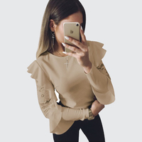 BEFORW High Quality Women S Clothing Shirt T Shirt Fashion Sexy Round Neck Lotus Sleeve Lace