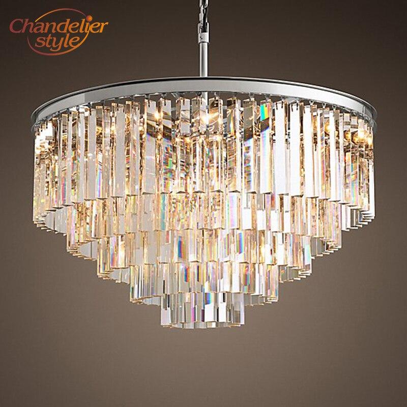 Lustres Vintage LED éclairage moderne cristal prisme lustre lumière lustres de cristal pour salon salle à manger décor à la maison
